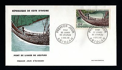 13344-COTE D´IVOIRE-FIRST DAY COVER ABIDJAN.1965.FRENCH Colonies.Pont de LIANES