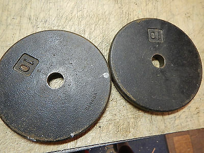 """Vintage 10 Lbs Pound Pancake Weight Plates Made In Canada Canadian For 1"""" Bars"""