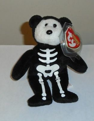 "Ty Halloweenie Beanie Baby ~ BONESES the 5"" Bear ~ MINT with MINT TAGS"