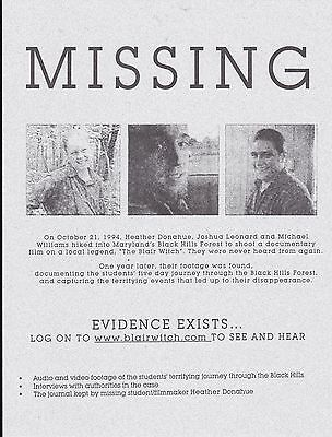 "The Blair Witch Project Movie 8 1/2"" x 11"" MISSING Promotional Flyer"
