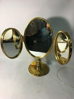 ANTIQUE VICTORIAN TRI-FOLD SHAVING/VANITY MIRROR  Brass frame Regency  MCM