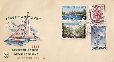 Stamps 1956 Australia Olympic Games set 4 WCS cachet FDC commemorative postmark
