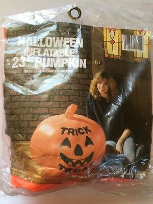 """NOS VTG Pumpkin Inflatable Blow Mold Decoration Weighted Rare Halloween 1987 23"""""""