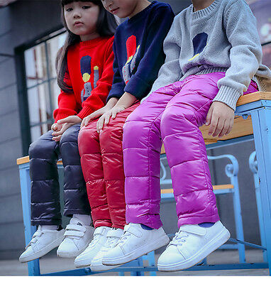 new children's boys girls kids warm down pants winter thick trousers wholesale