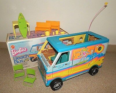 1973 BARBIE'S BEACH BUS w/ Accessories DODGE (Made in USA) ~ MATTEL 1971