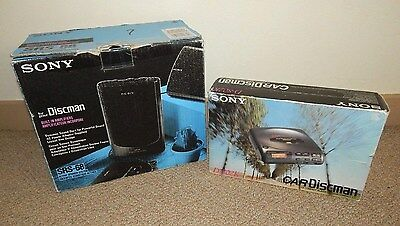 1993 SONY CarDiscman D-802K & SONY Active Speaker Set SRS-68 (Made in Japan)