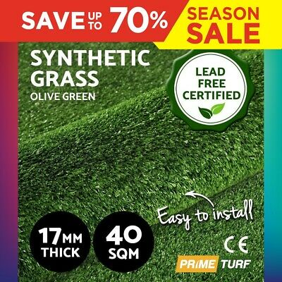 40 SQM Synthetic Turf Artificial Grass Olive Plant Lawn Flooring 17mm