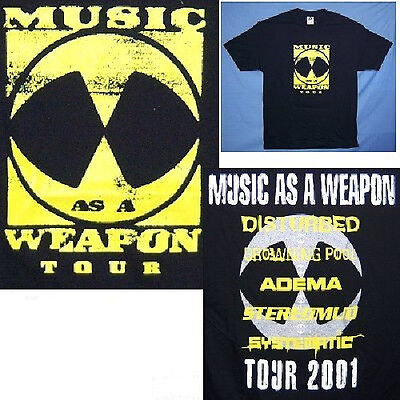 """Disturbed """"music As A Weapon"""" 2001 Tour Black T-Shirt Large New Official"""