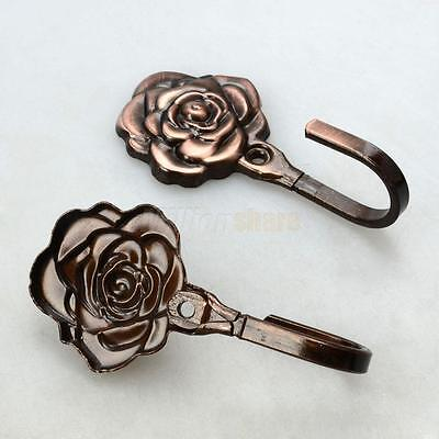 New Style Rose Pattern Metal Curtain Hooks Wall Decorative Hooks Red Copper US