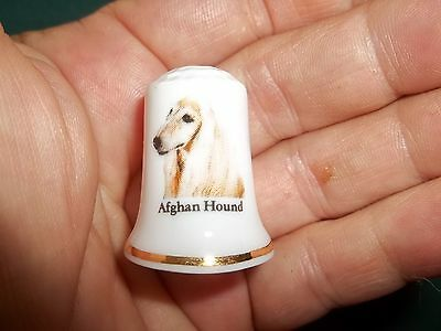 vintage AFGHAN HOUND Dog Collectible ceramic Thimble figurine Fine Lim. Edition