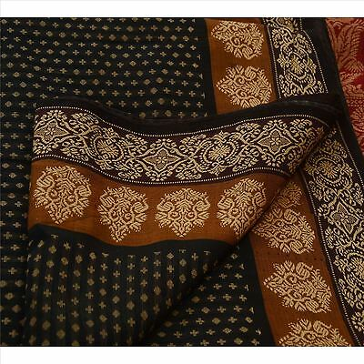 Sanskriti Vintage Indian Saree Cotton Blend Woven Black Fabric Ethnic Sari