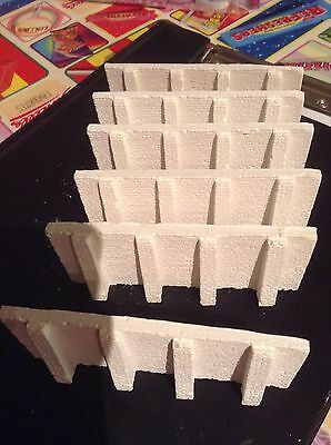 N scale Brick Style retaining  wall kit -6 sections- Unpainted - white