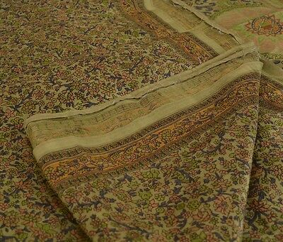 Antique Vintage 100% Pure Silk Saree Green Printed Sari Craft 5 Yard Fabric