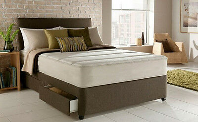 SUEDE 3FT 4FT 4ft6 double 5ft king memory foam divan bed black brown white grey