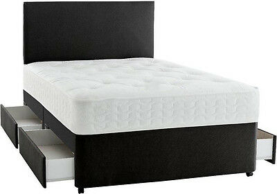 Leather Memory Foam Divan Bed All Sizes Free Headboard 3Ft 4Ft6 Double 5Ftking