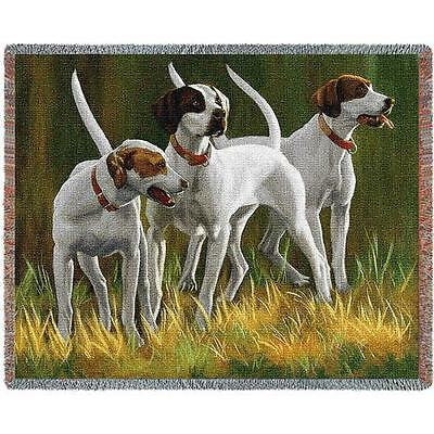 "Throw Tapestry Afghan - ""First Light Hounds"" Pointers by Bob Christie 3293"
