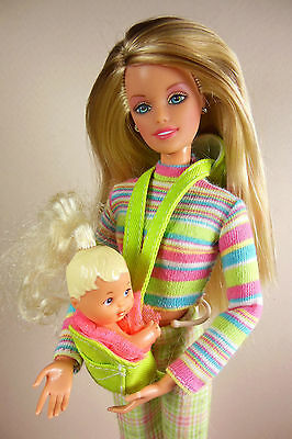 Babysitting Teenage Skipper doll with baby Krissy in baby carrier by Mattel!