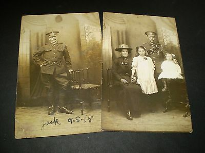 social history ww1 military man in uniform wit family two rp photo postcards