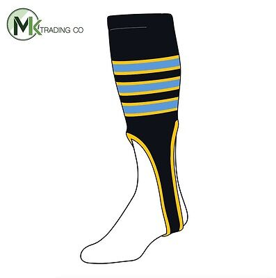 "TCK® Large, 300D, 8"" - Black–Gold–Baby Blue OE - MLB® Baseball Stirrups"