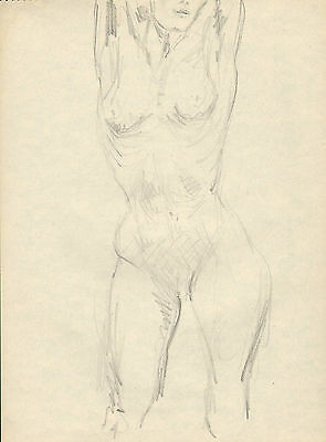 original pencil drawing from a competent artist  1939  (  nude lady ) vintage