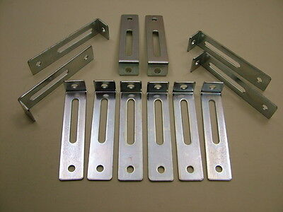 """Pack of 12 adjustable kitchen unit cabinet fixing """"L"""" brackets 76 x 18 x 15mm"""
