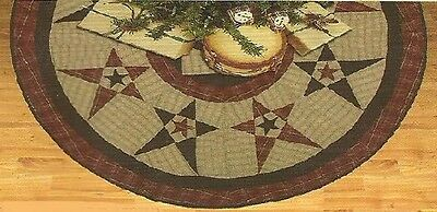 """Primitive Country Star Quilted Christmas Tree Skirt Approx. 48"""" D Tea Dyed"""