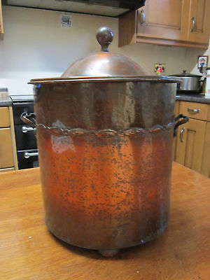Old Antique 1930s Copper Finish Container Fireside Tidy or General use