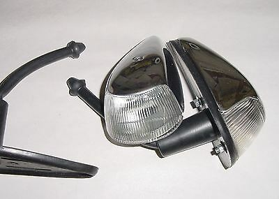 VW beetle bug 1964-1966 turn signal assembly with clear lens chrome pair complet