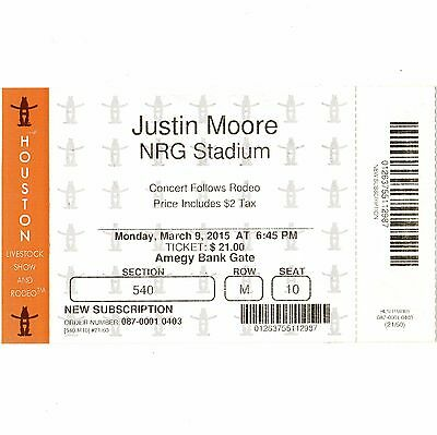 JUSTIN MOORE Concert Ticket Stub HOUSTON 3/9/15 LIVESTOCK SHOW & RODEO Rare