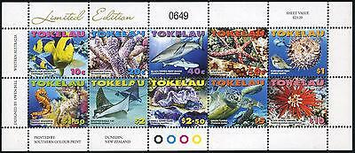 Tokelau 353-362a sheet,MNH. Marine life 2007.Fish,coral,shark,rays,clam,turtle,