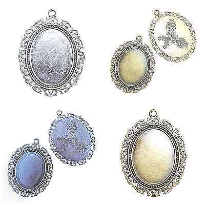 2 LARGE ANTIQUE SILVER or BRONZE OVAL CABOCHON PENDANT SETTINGS 30 x 40mm tray