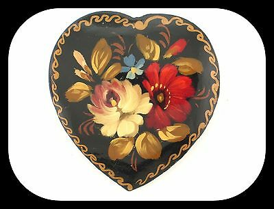 Vintage Signed LACQUER Handpainted Flowers on Heart BROOCH