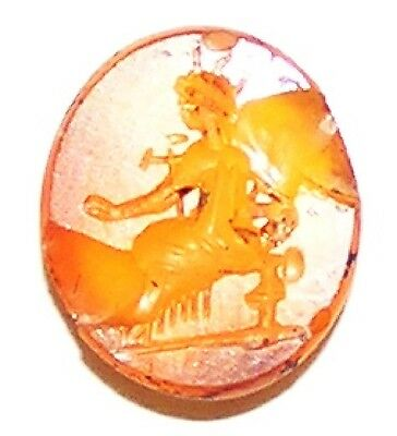 Ancient Roman Carnelian Intaglio of a Seated Fortuna / Tyche c. 2nd century A.D.