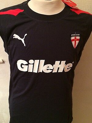 """New With Tags Gilette Puma England Rugby League 42"""" L Vest-Top Training Shirt"""