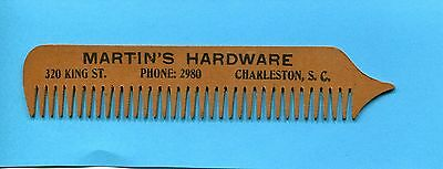Early 1900's Martin's Hardware 330 King St Charleston Sc Wooden Advertising Comb