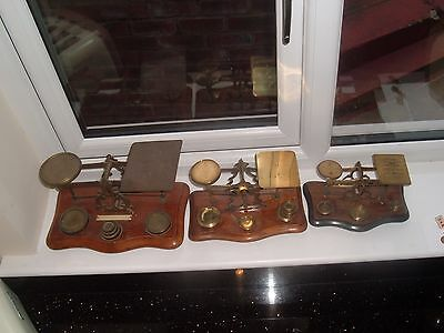 3 Sets  Antique Victorian Post Office Letter Scales With  Bun Feet With Weights