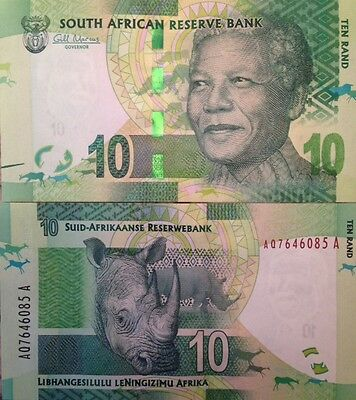 South Africa Nelson Mandela 2012 10 Rand Unc Banknote Rhinoceros From Us Seller