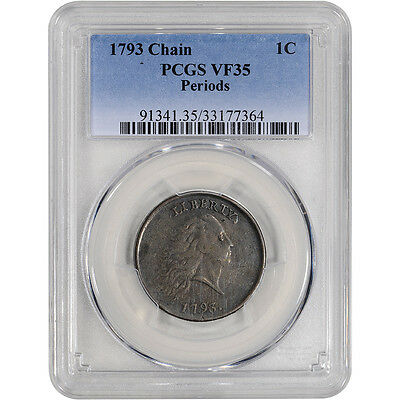 1793 US Flowing Hair Large Cent 1C - Chain - Periods - PCGS VF35 - Strong Chain