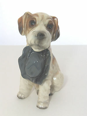 """Vintage RIES Japan Dog Terrier Carrying Hat Figurine 7"""" Tall Ceramic"""