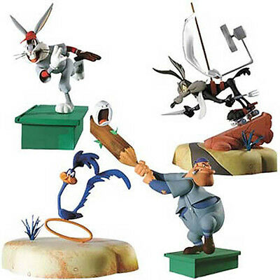 DC DIRECT Looney Tunes Set of 4 Wile Coyote Roadrunner Bugs Bunny Elmer Fudd