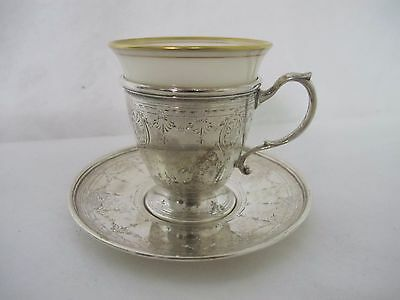 Magnificent Tiffany And Co. Lenox Sterling Tea Cup With Saucer