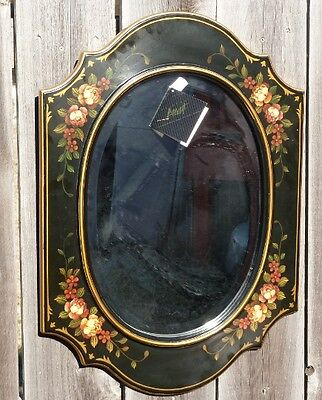 Large Oval Hand Painted Roses Bevel Mirror, by Oriental Accent
