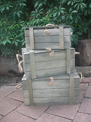 Set Of 3 Wooden Country Crate Box With Lid And Rope