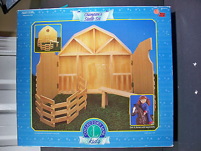 "NEW 1999 COLLECTORS LANE KIDS CHAMPION'S STABLE HORSE PONY BARN WOODEN 18"" doll"