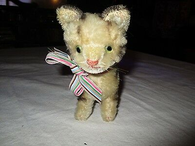 Vintage German Steiff Toy Mohair Kitten Grey Tabby Cat Glass Eyes no ear stud