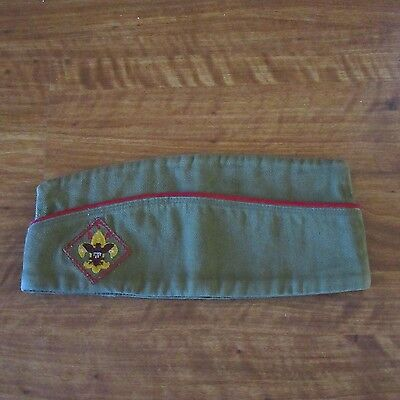 Boys Scouts of American BSA Green Vintage Garrison Eagle Insigna Wedge Hat Sz S