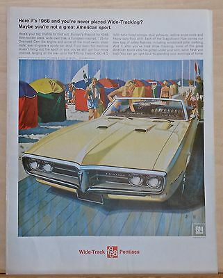 Vintage 1968 magazine ad for Pontiac - Firebird convertible, Play Wide-Tracking