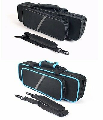 FLUTE CASE with shoulder strap -- BLACK or BLACK with Blue Trim -- CASE ONLY --