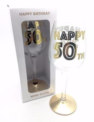 50th Birthday Gift - Gold Letters Wine Glass In Gift Box LP29594