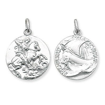 St Georges Pendant Necklace Solid Silver 21mm 925 Hallmark